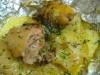 Курица запеченная в фольге с картошкой.