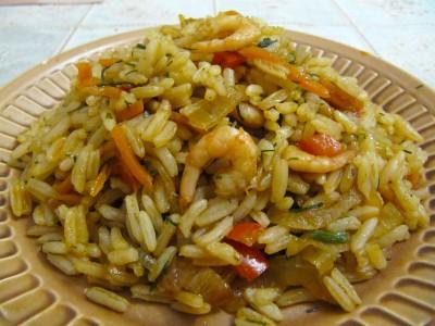 Креветки с рисом.